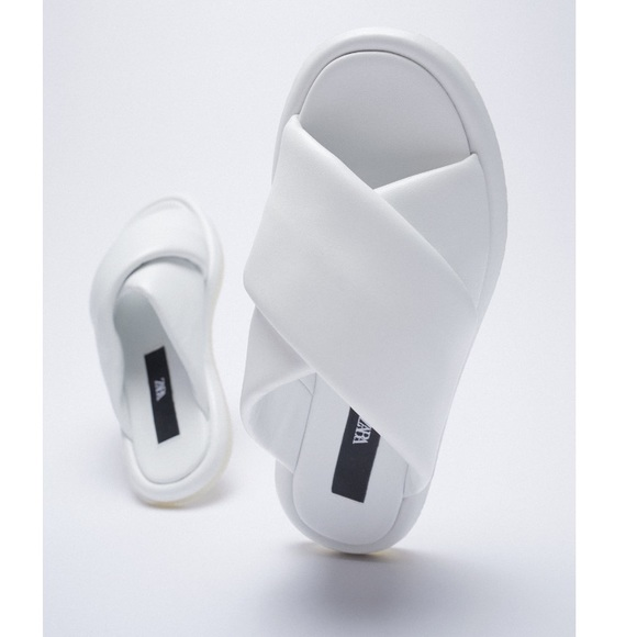 Zara white 100% leather cross detail sandals